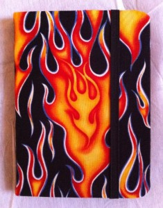 Flaming Kindle Cover, closed