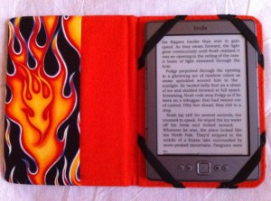 Flaming Kindle Cover, open